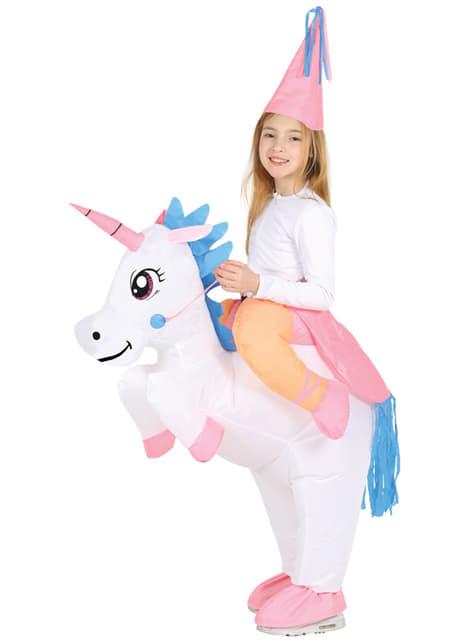 Opblaasbaar eenhoorn rij mee kostuum voor meisjes