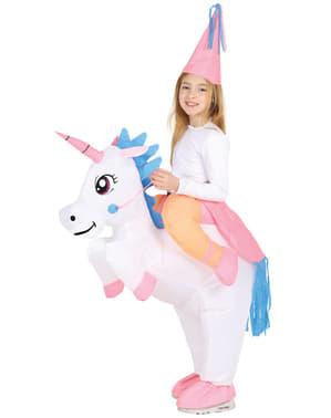 Fato de unicórnio ride on insuflável para menina