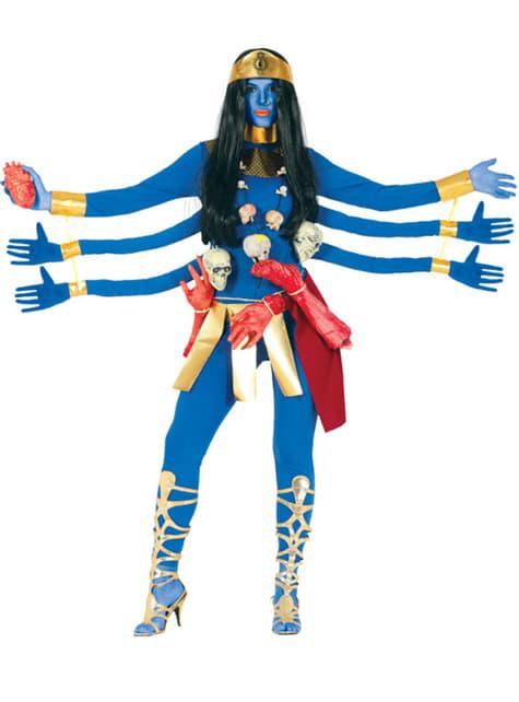 Fato de deusa azul com 6 braços para mulher