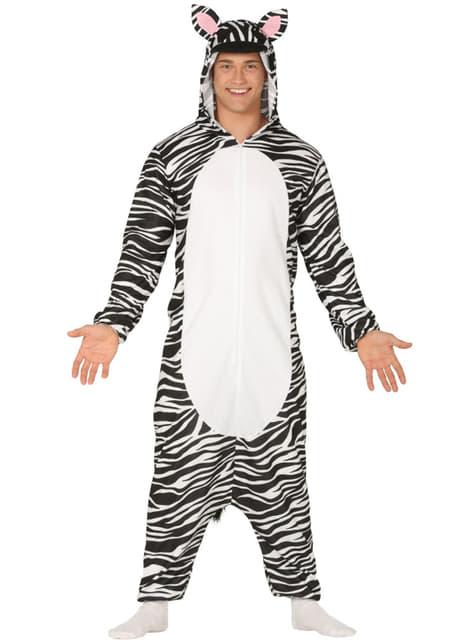 Fato de zebra onesie para adulto
