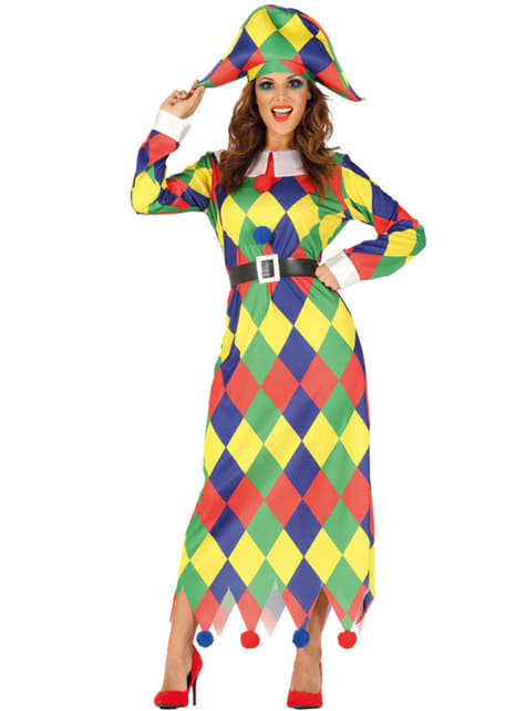 Fato de arlequim colorido para mulher