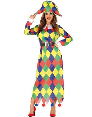 Fargerik Harlekin kostyme til dame