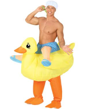 Déguisement canard en plastique gonflable ride on adulte