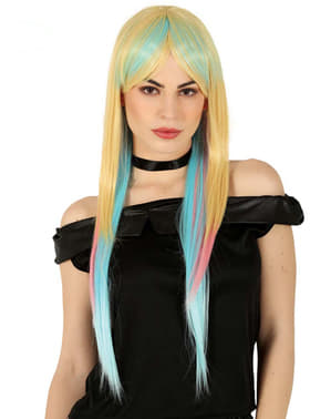 Peruca multicolorida comprida para mulher