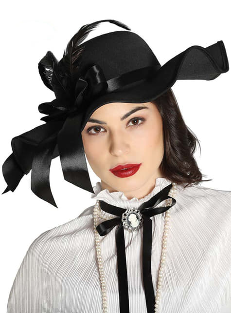 Black Victorian hat with feathers for women