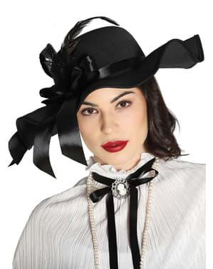 Chapeau noir époque victorienne à plumes femme