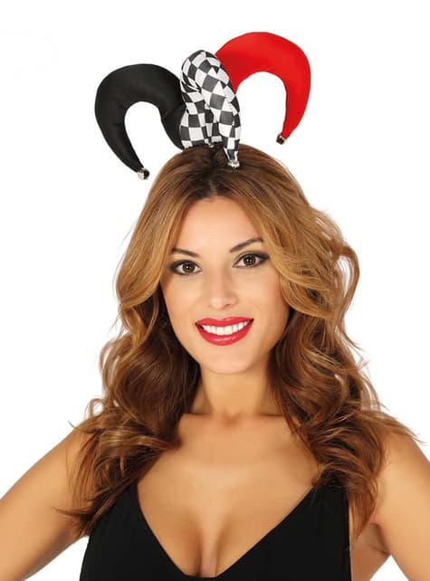 Sombrero de arlequín pequeño y colorido para adulto
