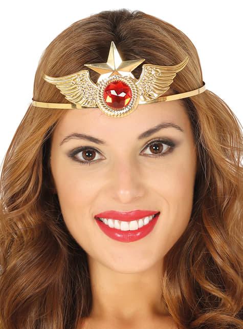 Diadema de superhéroe dorada con rubí