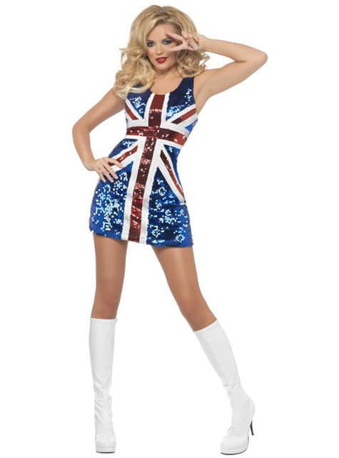 Disfraz de bandera británica sexy para mujer