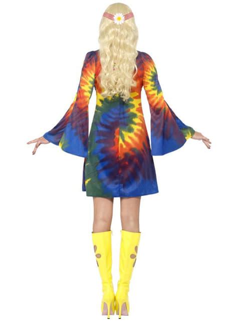 Disfraz de hippie sesentera con vestido - mujer