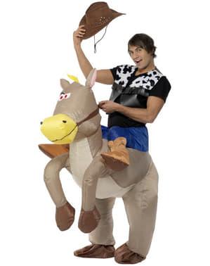 Costum gonflabil de cal gri pentru adult