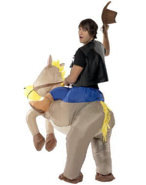 Fato insuflável de cavalo cinzento para adulto