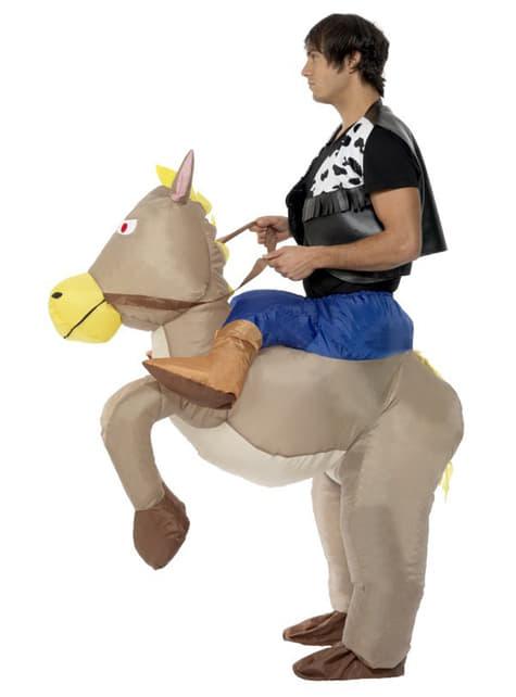 Aufblasbares Pferd Kostüm grau für Erwachsene
