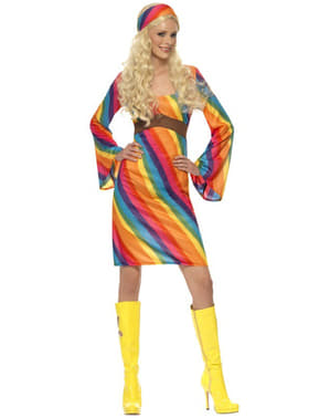 Sateenkaari-Hippi-nainen-asu aikuiselle