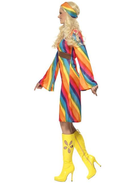 Disfraz de hippie arco iris para mujer - original