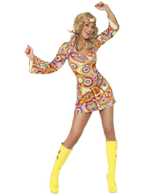 Disfraz de felicidad hippy para mujer