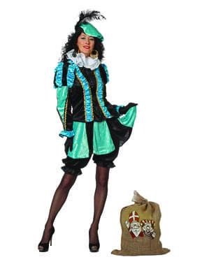 Turquoise Piet kostuum, hulp van Sinterklaas voor vrouw
