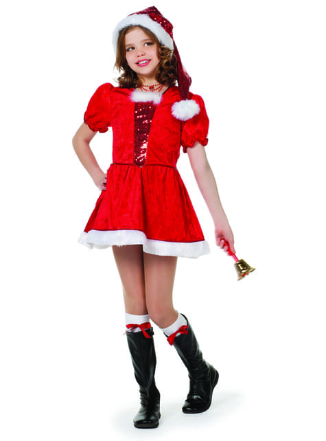 Kerstvrouw kostuum met pailletten voor meisjes