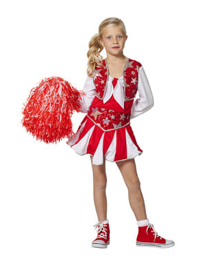 Déguisement pom-pom girl rouge brillante fille