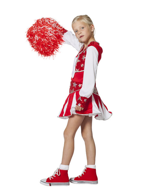 Disfraz de animadora roja brillante para niña - niña