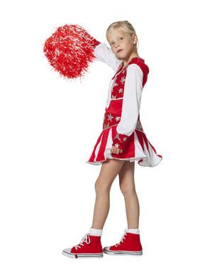 Disfraz de animadora roja brillante para niña