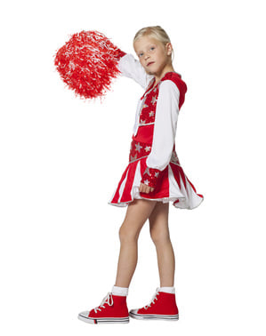 Fato de cheerleader vermelho brilhante para menina