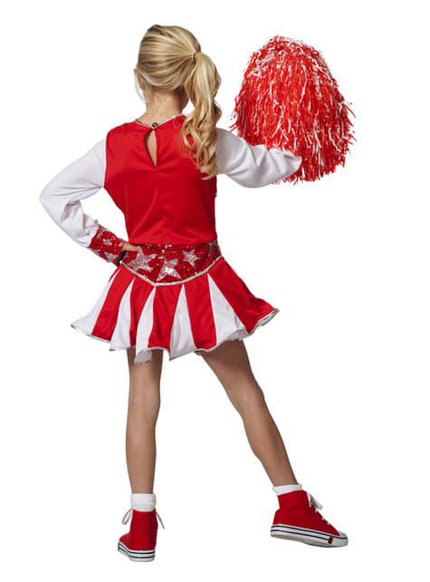 Disfraz de animadora roja brillante para niña - original