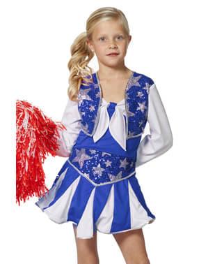 Blått Cheerleader Kostyme til Jenter