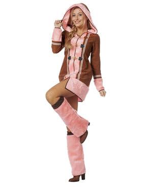 Roze eskimo kostuum voor vrouw