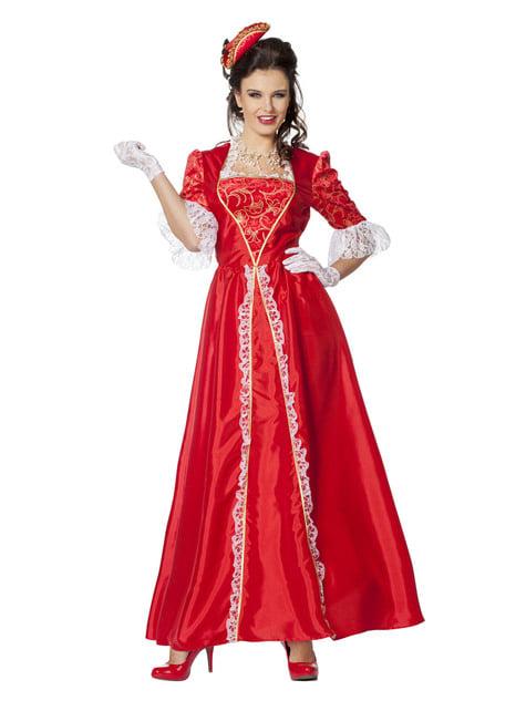 Fato de Marquesa vermelho para mulher