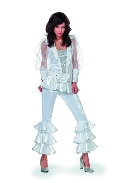 Disfraz de Mamma Mia deluxe blanco para mujer - Abba
