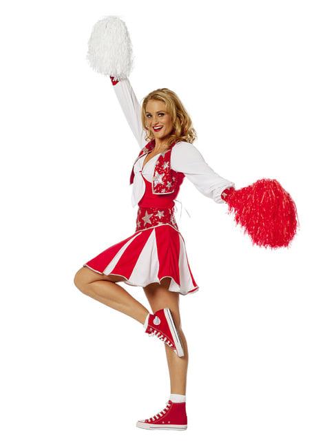 Disfraz de animadora roja brillante para mujer