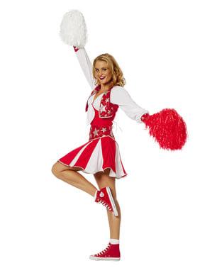 Rødt Skinne Cheerleader Kostyme til Dame