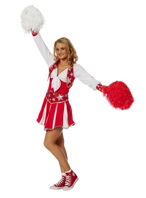 Disfraz de animadora roja brillante para mujer - mujer