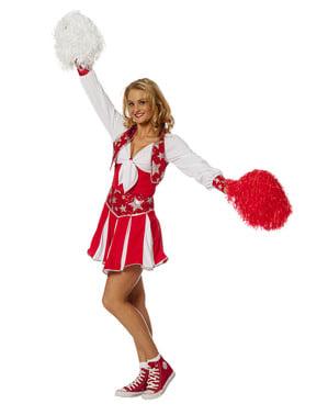 Fato de cheerleader vermelho brilhante para mulher
