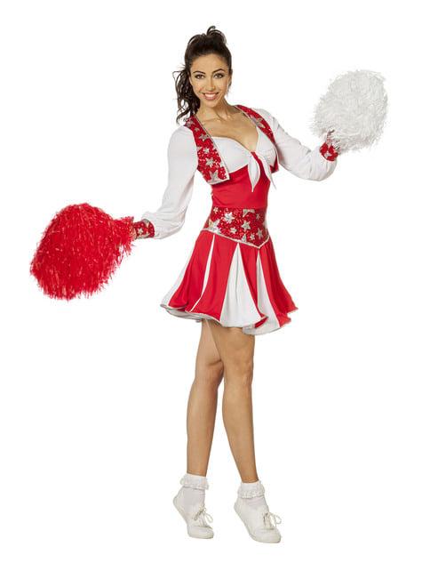 Disfraz de animadora roja brillante para mujer - original