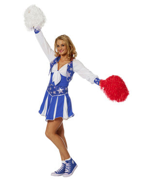 Maskeraddräkt cheerleader blå dam