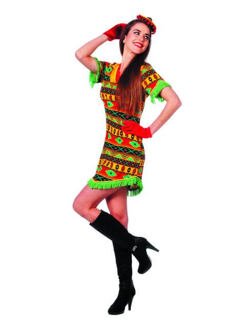 Déguisement mexicaine multicolore femme
