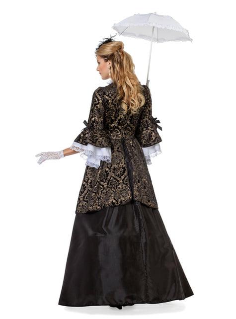 Zwart markies kostuum voor vrouw