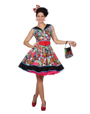 Pop Art Pin-Up Kjole til Damer