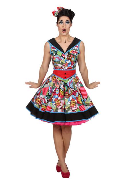 Vestido Pop Art pin up para mulher