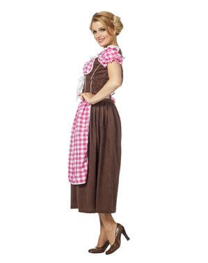 Oktoberfest kostuum roze geruit voor vrouw