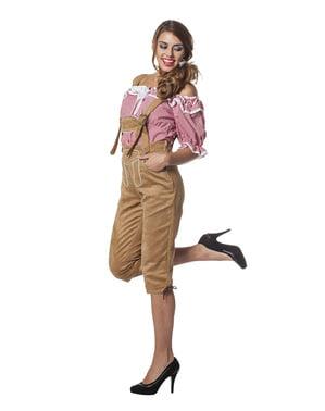 Бежово Октоберфест кожени панталони за жени