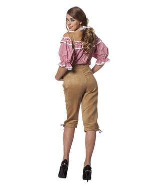 Beżowe Spodnie Lederhosen Oktoberfest dla kobiet