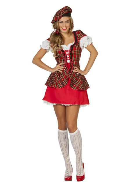 Disfraz de escocesa roja para mujer