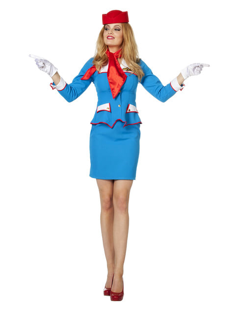 Blue and Red Air Hostess Costume for Women