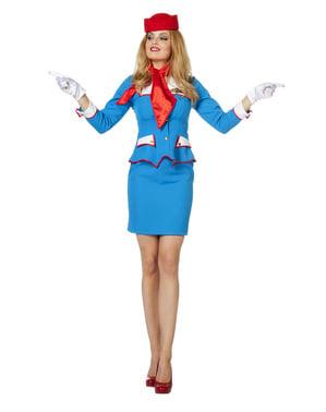 Blår og Rødt Stewardesse Kostume til Kvinder