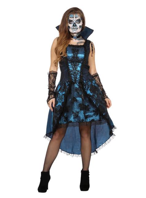 Fato de vampiro azul para mulher