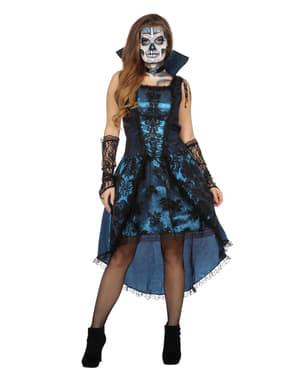 Vampir Kostüm blau für Damen