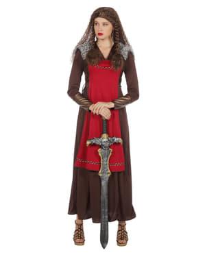 Rødt Viking kostyme til dame